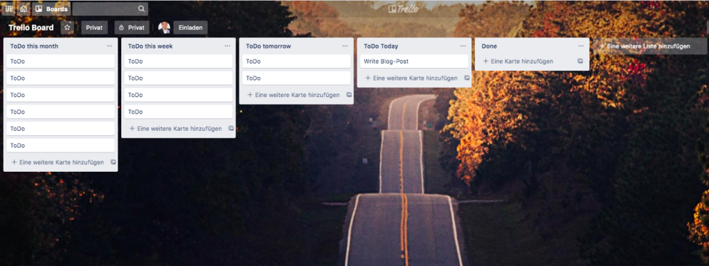 an example of a trello board