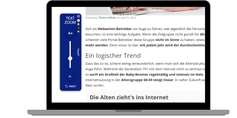 Das Toolkit als Widget am linken Bildschirm mit der Einstellung Text Zoom